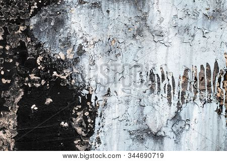 Peeling Background. Gray Grunge Texture. Cement Cracked Wall. Rough Structure. Dripping Paint. Old B