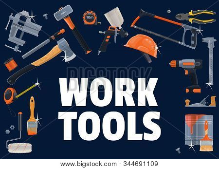 Construction Tools. Vector Carpentry, Diy, Building Industry Equipment. Electric Drill, Hammer And S