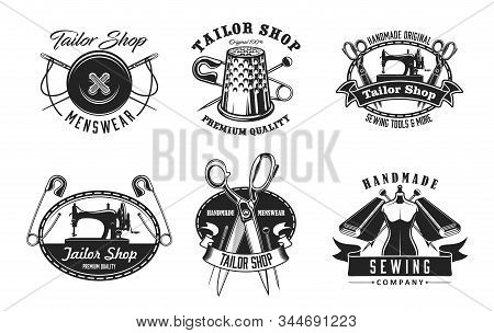 Tailor Shop And Sewing Vector Icons. Sewing Machine And Thread, Needle And Button, Thimble, Scissors