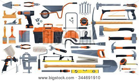 Repair, Construction And Building Vector Tools. Toolbox And Hammer, Screwdriver And Drill, Spanner,