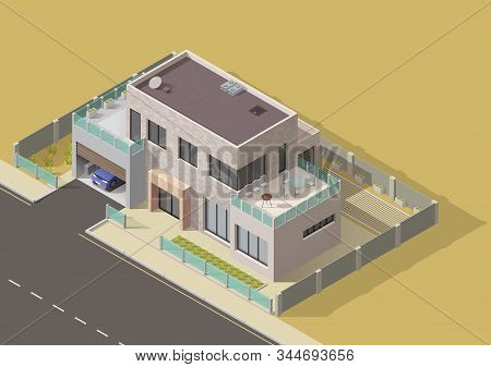 House Building Isometric Vector Design Of 3d Bungalow, Villa Or Mansion With Green Yard And Grass La