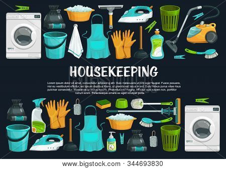 Housekeeping Vector Banner With Cleaning Tools, Equipment And Supplies. Vacuum Cleaner, Brush And Bu