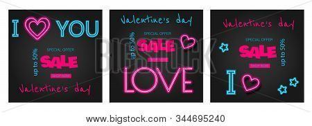 Valentine's Day is a proposal, a collection of neon-style banner templates.Valentines Day background, Valentine's day banners, Valentines Day flyer, Valentines Day design, Valentines Day with Heart on black background, Copy space text area, vector illustr