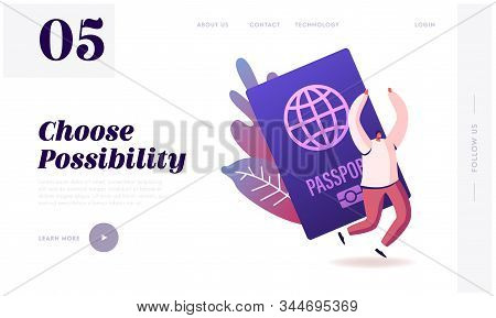 Tourist Get Visa And Passport For Traveling Abroad Website Landing Page. Happy Cheerful Man Rejoice