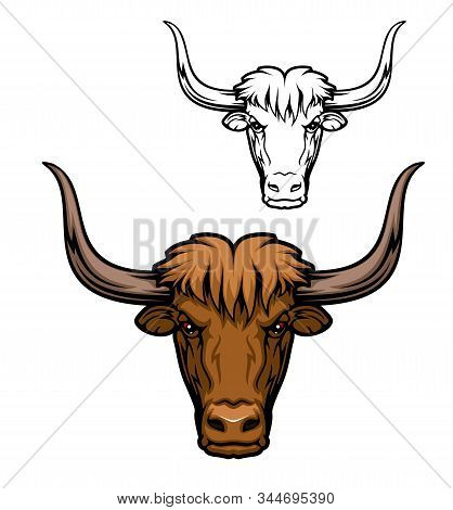 Yak Or Domesticated Wild Ox Animal Mascot Of Hunting Sport, Hunter Club Or Sporting Team. Bull Head