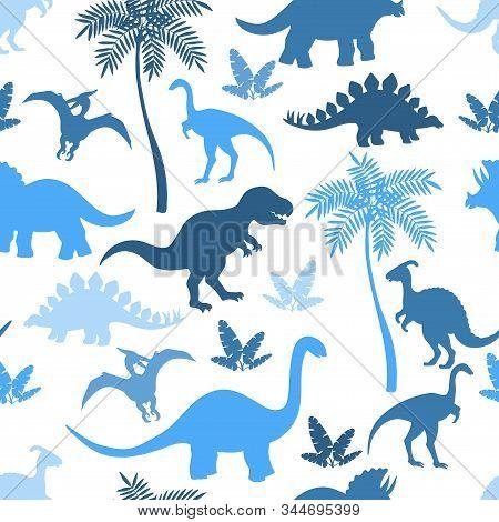Seamless Pattern With Colorful Dinosaur Silhouettes, Stegosaurus, Triceratops, Tyrannosaurus, Bronto