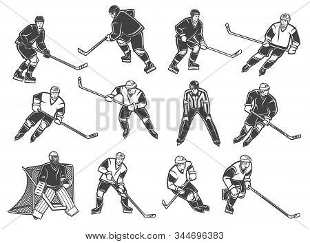 Ice Hockey Players, Vector Characters. Ice Hockey Referee And Goalkeeper, Forward, Winger And Defend