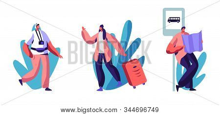 Traveling Or Hiking Trip Set. People With Luggage, Photo Camera And Map Traveling Abroad. Travel Age