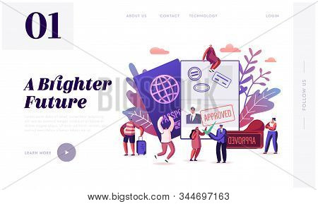 People Getting Visa Website Landing Page. Travelers And Tourists Making Document For Leaving Country