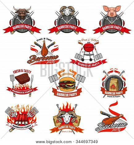 Barbecue Party And Picnic Meat Vector Icons. Bbq Grill And Charcoal Fire Flame, Knife And Fork For C