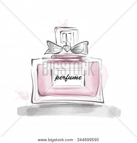 Perfume Bottle With Bow Vector Illustration. Female Template Design. Perfume Bottle Design Glass. Lu