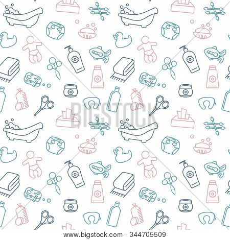 Seamless Background On The Theme Of Baby Bathing And Care.