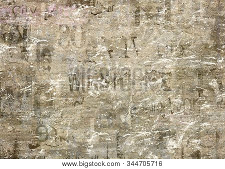 Old Grunge Newspaper Paper Textured Horizontal Background. Vintage Newspapers Texture. Newsprint Typ