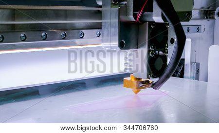 Print Head Of 3d Printer Machine Printing Plastic Model At Modern Scifi Technology Exhibition. 3d Pr
