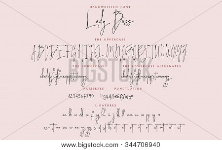 Handwritten Font Set Lady Boss With Uppercase And Lowercase Letters Numbers And Punctuation. Alphabe