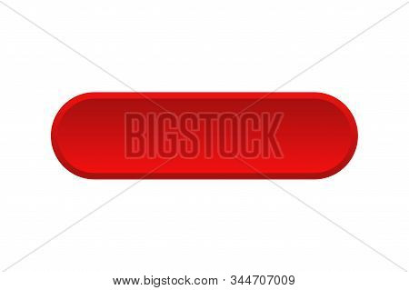 Vector Red Buttons Isolated. Blank Red Menu Button. Click Icon Vector. Subscribe Button Icon. Round