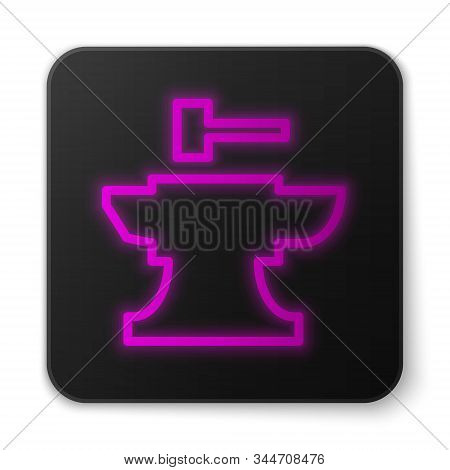 Glowing Neon Line Anvil For Blacksmithing And Hammer Icon Isolated On White Background. Metal Forgin