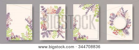 Tropical Herb Twigs, Tree Branches, Leaves Floral Invitation Cards Collection. Plants Borders Natura