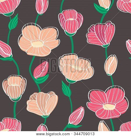 Floral Seamless Pattern Of Flowers And Buds. Linear Flowers. For Textile And Background. Pink Curly
