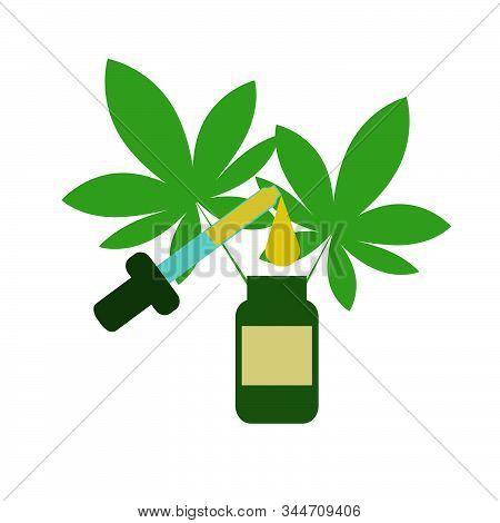 Bottles With Cbd Oil, Thc Tincture And Hemp Leaves  Cosmetics Cbd Oil. Vector Flat Concept Illustrat