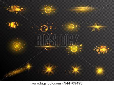 Golden Sparkling Light Trails. Sparkling Glitter Flashes. Shining Particles With Sparkler Tails. Shi