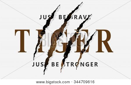 Wild Hunt Slogan With Tiger. Japanese Style Tiger Vector Illustration For T-shirt And Other Uses.