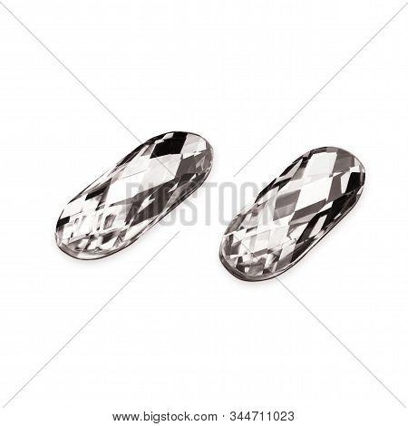 .Crystals. Crystal strasses on a white background. Beautiful shiny sparkling rhinestones isolated diamond fashion gems jewelery precious strass. Jewelry, rhinestones, shiny stones poster