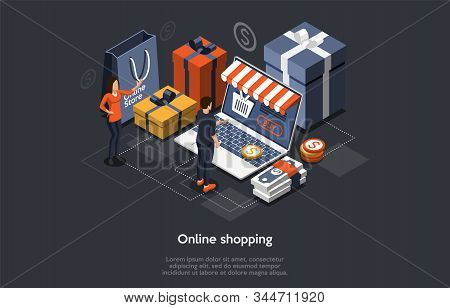 Isometric Online Shopping Concept. Customers Order And Buy Goods On Laptop Screen. Online Gift Purch