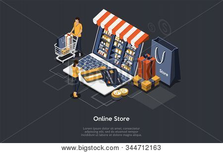 Isometric Online Store Concept. Customers Order And Buy Goods Online. Online Gift Purchase, Gift Sho