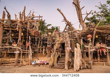 Ko Phayam, Thailand - February 19, 2019: Famous Hippie Bar made from driftwood on Ko Phayam island