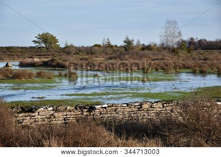 Flooded Landscape By An Old Dry Stone Wall At The Swedish Island Oland