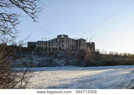 Borgholm Castle Ruin, A Swedish Landmark, In The  First Snow