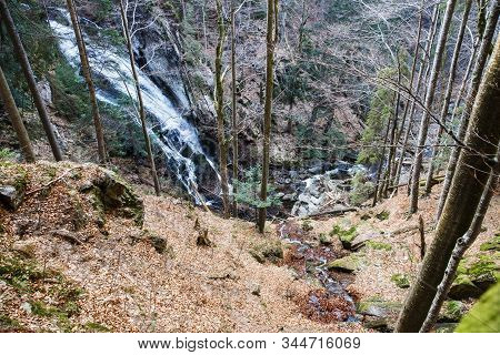 Wild Forest With Waterfall. Ecology, Natural Environment And Biomass Concept.