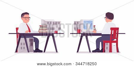 Fat Male Clerk Working At Computer Desk. Heavy Middle Aged Business Guy, Office Manager And Civil Se