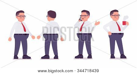 Fat Male Clerk Standing With A Phone, Mug. Heavy Middle Aged Business Guy, Office Manager And Civil