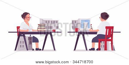Fat Female Clerk Working At Computer Desk. Heavy Middle Aged Business Lady, Office Manager And Civil