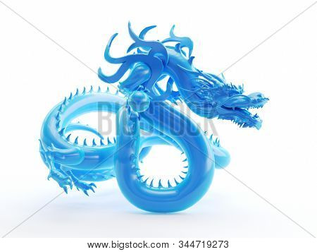 3d rendered object illustration of an abstract blue dragon