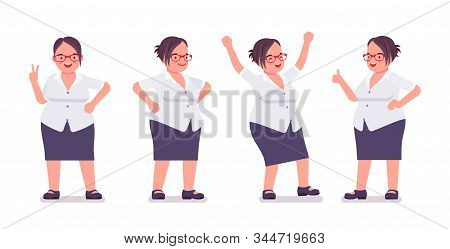 Fat Female Clerk Busy In Positive Emotions. Heavy Middle Aged Business Lady, Office Manager And Civi
