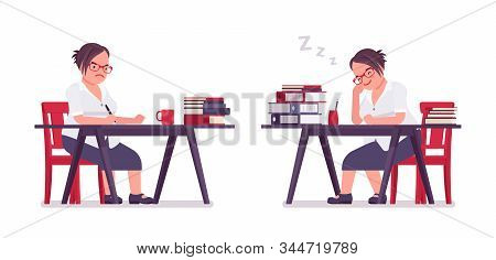 Fat Female Clerk Working, Sleeping At Desk. Heavy Middle Aged Business Lady, Office Manager And Civi