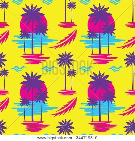 Tropical Summer Vacation - Decorative Banner. Travel Seamless Pattern. Holiday Paradise Coast Beach