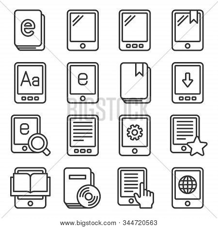 E-book Reader Icons Set On White Background. Line Style Vector