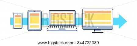 Mobile First Flat Vector Illustration. Outline Icons: Smartphone, Tablet, Laptop, Pc. Responsive Web