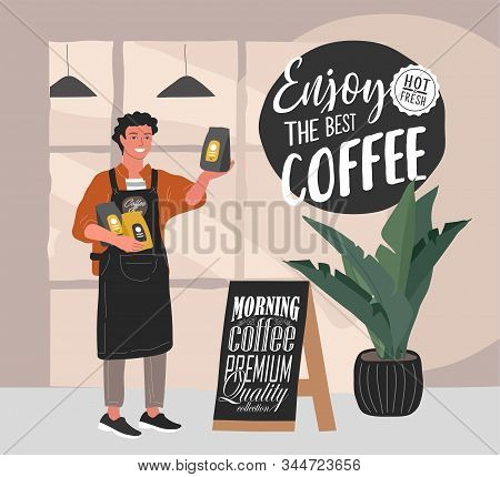 Coffee Shop Hand Drawn Collection . Cartoon Man Barista Character Standing Next To Stand With Handwr