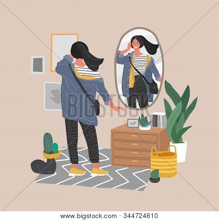 Cute Young Woman In Casual Trendy Clothes Looking At Mirror In Scandinavian Interior. Concept Of Fem