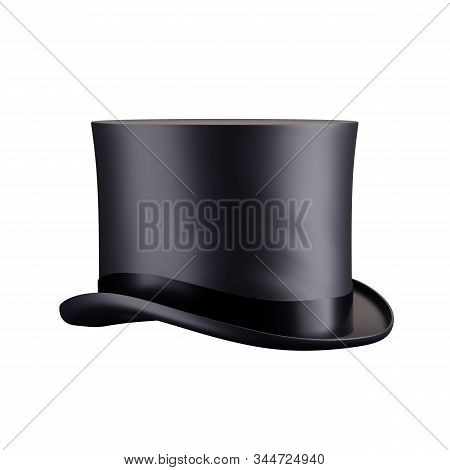 Gentleman Hat Cylinder. Front View. Classic Black Model With Silk Ribbon. Perspective View. 3d Rende