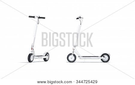 Blank White Electric Scooter With Banner Mockup, Front And Side View, 3d Rendering, Empty Leisure De