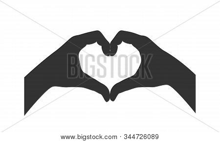 Gesture Of The Hands Folded As Heart. Hands Folded In The Shape Of A Heart, Sign Isolated On White B