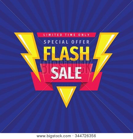 Flash Sale - Concept Promotion Banner Template Vector Illustration. Discount Special Offer Creative