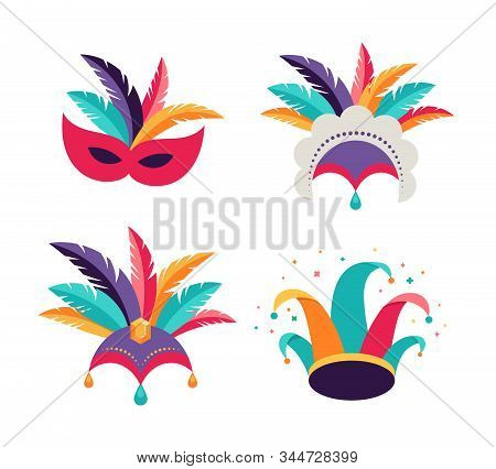 Carnival, Party, Purim Background. Masks, Clown Hat, Dancer Headdress
