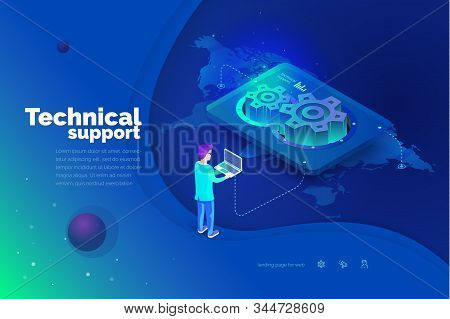 Technical Support. A Man Interacts With A Technical Support System. Global Map Of The World. Technic
